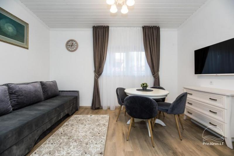 Jaukūs, erdvūs, moderniai įrengti apartamentai nuomai Palangos centre