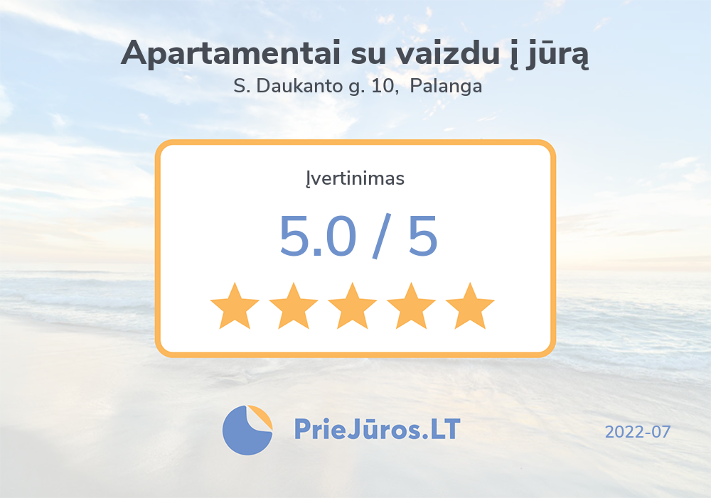 Holiday makers' reviews – Apartamentai su vaizdu į jūrą, S. Daukanto g. 10, Palanga
