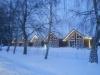 Mediniai nameliai žiemą