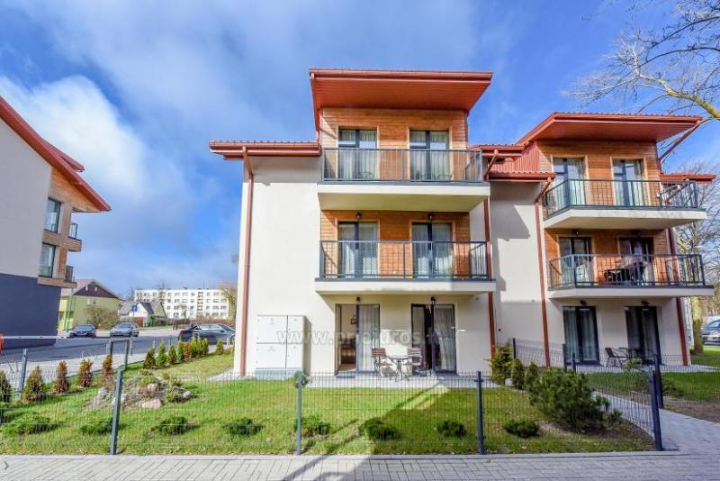 Nauji 2 kambarių apartamentai MALŪNO VILOS: pirmas aukštas, terasa-kiemelis