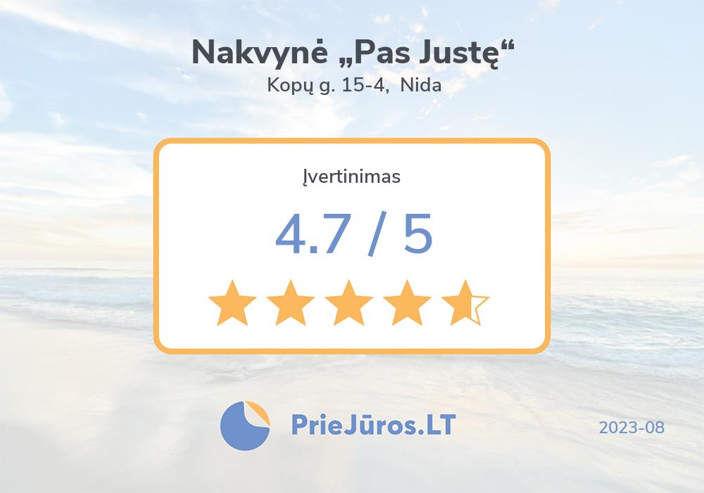 """Holiday makers' reviews – Nakvynė """"Pas Justę"""", Kopų g. 15-4, Nida"""