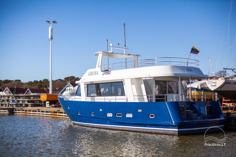 Laivo nuoma Nidoje. Naujas išvaizdus, naujausio dizaino laivas GRESA. - 6