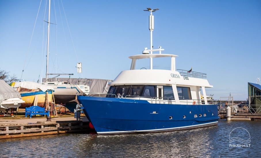 Laivo nuoma Nidoje. Naujas išvaizdus, naujausio dizaino laivas GRESA. - 8