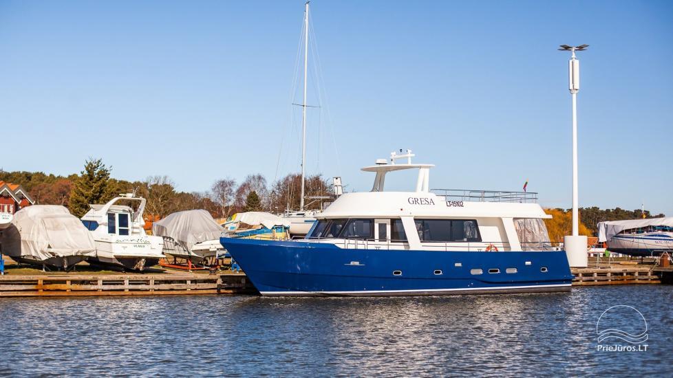 Laivo nuoma Nidoje. Naujas išvaizdus, naujausio dizaino laivas GRESA. - 9