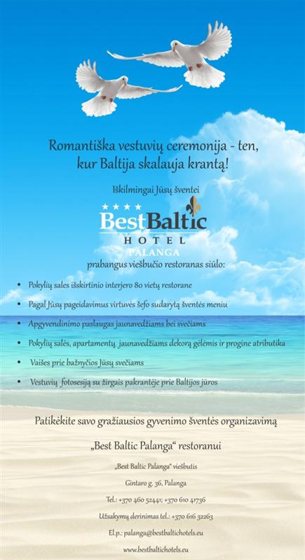 Vestuvių ceremonija Palangoje, viešbutis-restoranas Best Baltic